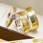 Alianças casamento ouro e prata 12 gramas + anel solitário WM10205