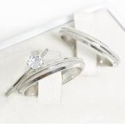 Alianças chanfradas prata 950  3mm com anel solitário WM10324