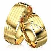 Alianças de Casamento com Friso em ouro 12 a 14G 7mm WM3090