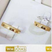 Alianças de casamento e Noivado  Peso 6 gramas o par Largura 4mm- WM10059