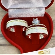 Alianças de namoro + anel solitario  Peso 10g  Largura 6mm - WM10228