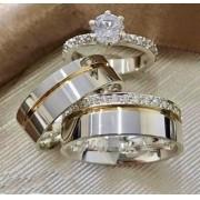 Alianças de namoro e anel solitario  em prata WM10277