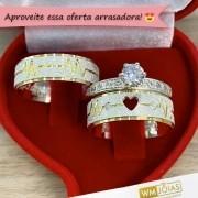 Alianças de namoro e anel solitario  Peso 12 gramas Largura 7mm - WM10182