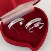 Aliancas de namoro  em prata com anel solitario  Largura 4mm - WM10296