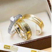 Alianças de noivado e anel solitario  Peso 12G  Largura 6mm - WM10241