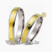 Aliancas de noivado e casamento ouro 18k e prata WM2561