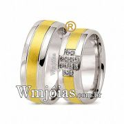 Alianças de noivado e casamento ouro 18k e prata WM2576