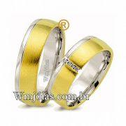 Aliancas de noivado e casamento Ouro 18k e Prata. WM2578