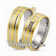 Alianças de noivado e casamento ouro 18k e prata WM2595