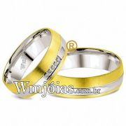 Alianças de noivado e casamento ouro 18k e prata WM2597