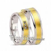Alianças de noivado e casamento ouro 18k e prata WM2604