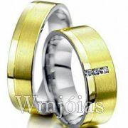 Aliancas de noivado e casamento ouro 18k e prata WM2955