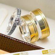 Alianças de noivado ouro e prata 6mm WM10239