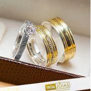 Alianças de noivado ouro e prata acompanha anel WM10232