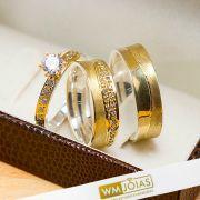 Alianças de noivado ouro e prata com pedras acompanha anel WM10206