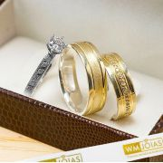 Alianças de noivado prata e ouro ganhe um anel WM10243