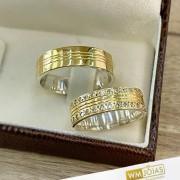 Alianças de noivado prata e ouro WM10272
