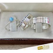 Alianças de prata compromisso com anel solitário - 6 mm 10G WM10248