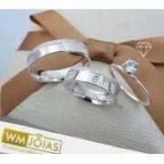 Alianças de prata mais anel solitario  11G Largura 6mm - WM10131