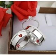 Alianças de prata para namoro com anel WM10280