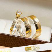 Alianças em metal nobre ouro e prata com anel solitário WM10212