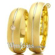 Alianças em ouro 18k amarelo e branco WM2373