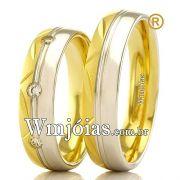 Aliancas em ouro amarelo e branco 18k WM2375