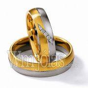 Alianças em ouro branco e amarelo 18k WM2273