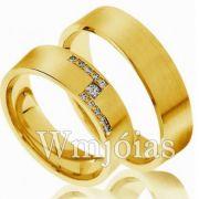 Alianças Evangélicas de Casamento com Zircônias-  WM3000