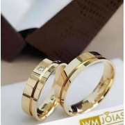 Alianças Evangélicas ouro amarelo  Peso 8 gramas o par Largura 5mm- WM10012