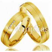 Alianças Evangélicas trabalhadas para casamento WM3009