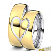 Alianças Noruega  ouro 18k e prata 950 WM10340