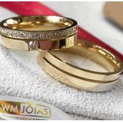 Alianças ouro 18k 10 gramas o par 5mm largura- WM10089