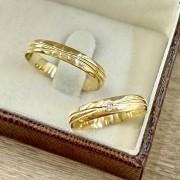 Alianças Ouro Amarelo 3,5mm com Diamante - WM9265