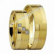 Alianças ouro para noivado com 6 mm de largura de 9 a 12 Gramas WM3100