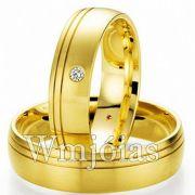 Alianças Tradicionais de Casamento em Curitiba, em Ouro 18k, de 9 a 11g o Par e 5.5mm - WM3085