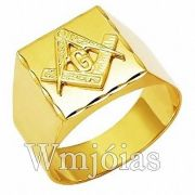 Anel Maçonaria ouro 18k 750 WM2908