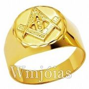 Anel Maçonaria ouro 18k 750 WM2911
