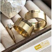 Kit Aliança e Anel de Noivado Ouro 18k 750 9mm -WM10187
