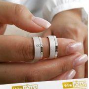 Par de alianças de compromisso em prata 950 Peso 14 gramas 7,5mm WM10058