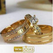 Par de  alianças mais anel de noivado em ouro -WM10031