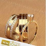 Par de  alianças mais anel de noivado em ouro  WM10032