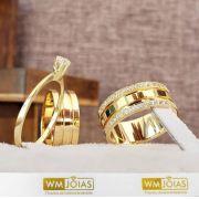 Par de alianças mais anel de noivado em ouro WM10054