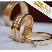 Par de alianças mais anel de noivado em ouro WM10072
