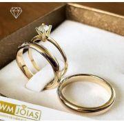 Par de  alianças mais anel de noivado em ouro WM10097