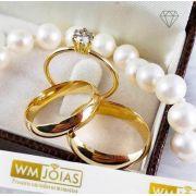 Par de  alianças mais anel de noivado em ouro WM10102