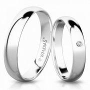 Par de alianças noivado e casamento ouro Branco 18k  Peso 6 gramas 3mm WM10070