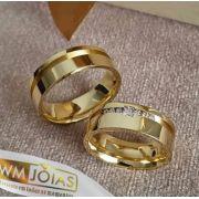 Par de Alianças  Noivado e casamento  Peso 14 gramas o par Largura 7mm- WM10056