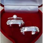 Par de alianças prata 950 com zircônias WM10288