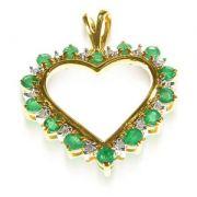 pingentes de ouro com esmeralda WM1196